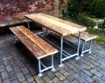 Industrial Style Reclaimed Scaffold Long Dining Table and Benches