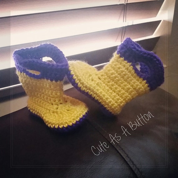Items similar to baby girl crochet boots, toddler rain ...