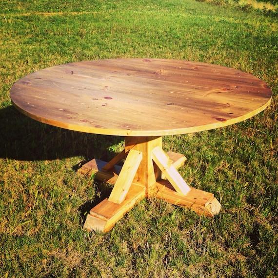 Round farmhouse table with x trestle pedestal for Post trestle farm table plans