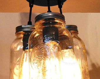 3x Mason Jar ceiling light vintage Industrial, Antique Edison Bulb, Mason Jar Lamp, Rustic Lighting