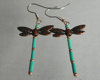 Dragonfly Copper/Turquoise Earrings