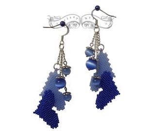 Handmade Cuoricini Azzurri Earrings - Blue Hearts Earrings - Seed Beads Handmade Earrings