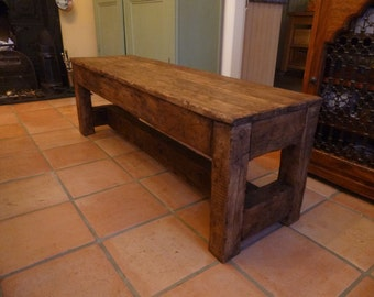 Rustic oak Bench Seat made from reclaimed hardwood