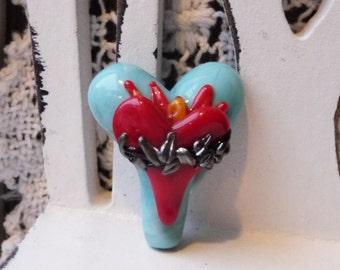 MADE to ORDER Sweet Heart Focal - Sacred Heart by Sabrina Koebel Handmade Lampwork Beads