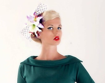 Purple White Lily hair Flower Fascinator headpiece Rock Rockabilly
