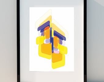 """Geometric poster """"Dynamic Persepective"""" Art for home, Poster, home, wall decor, Print Design, A2, A3 or A4"""