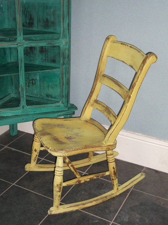 Solid wood rocking chair distressed and waxed by ettasnest