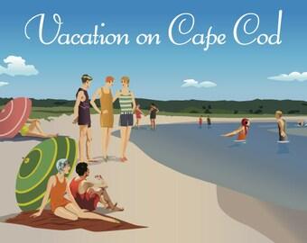 Print of original artwork, Beach, Cape Cod, Vintage Poster, 1920s, Nineteen Twenties, Poster, beach art, Prints, ocean, summer house