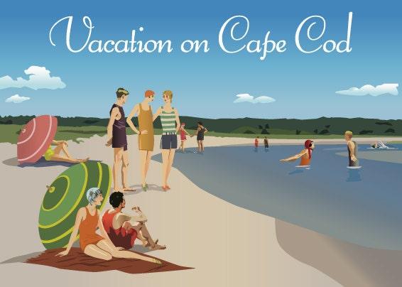 Print of original artwork Beach Cape Cod Vintage Poster