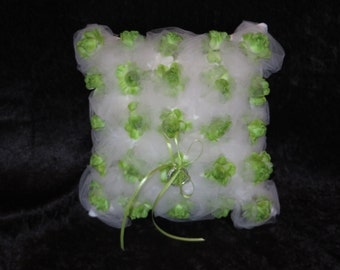 Ring Bearer Pillow, Green Wedding Pillow, Green Rose Buds, Traditional Wedding, White tulle, Bridal Accessories, Ring Pillow, Rosebud pillow