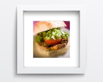 Vegan Chickpea Burger Photography Print, Vegan Food Photo, Vegetarian Food Wall Art, Vegan Kitchen Wall Decor, Vegan Burger Photography
