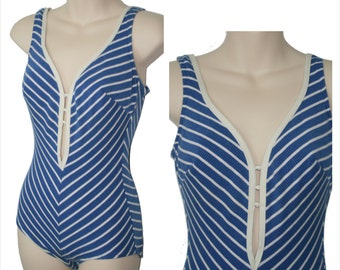 Mid-Century Swimsuit Pin-up 1950s / 1960s Blue and White Chevron One-piece Swimsuit Bathingsuit Sz S-M