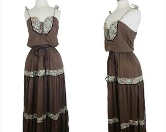 70s Boho Maxi Dress Brown Floral Festival Dress