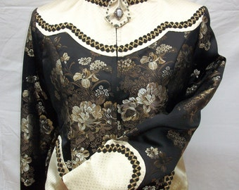 Black-Gold Flower Pattern Western Show Jacket