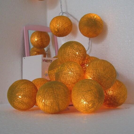 35 Gold Cotton Ball String Fairy Lights by Butterflies2Lanterns