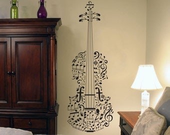 Music Notes Wall Decal Violin Wall Art Violin Gifts Violin Instrument Violin Decal Violin Wall Decal Violin Decor Violin Art Violin Sticker
