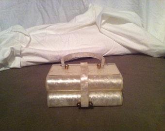 Vintage  Willardy White Pearlized  Lucite Purse/ Jewely/ Trinkett Box