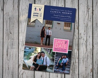Modern Wedding Save-the-Date, Navy & Pink, Customizable Photos, Printable Digital File, DIY