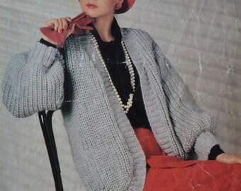 PDF chunky cardigan vintage knitting pattern jacket lady's INSTANT download pattern only pdf