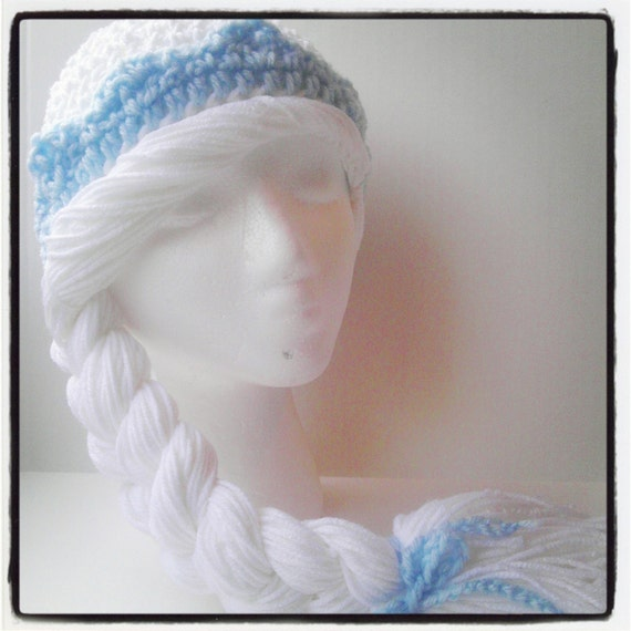 Crochet Elsa Hair : Elsa Hat Wig Frozen Inspired Queen Elsa Hair Crochet by LaurasHats