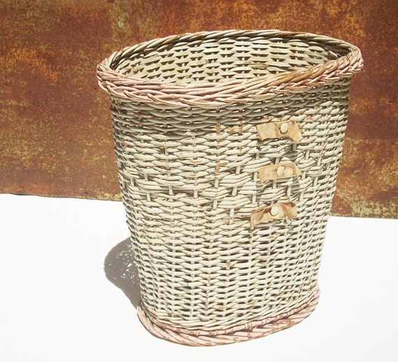 Vintage wicker trash basket original condition by rustfarm - Wicker trash basket ...