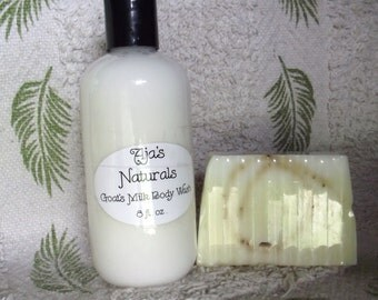 Goat Milk BODY WASH 8oz Choose your scent by Aja's Naturals Free Soap Slice