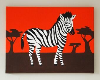 "Zebra Nursery Art, Zebra painting, Safari Nursery decor, Zebra Wall Art, Baby Boy decor, Jungle Nursery, Animal Art, 16"" x 12"" original art"