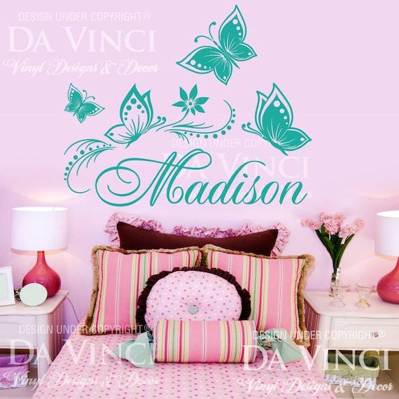 Butterflies flower personalized custom name vinyl decal - Habitaciones pintadas infantiles ...