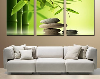 ZEN BAMBOO and STONES ready to hang 3 panel set digital wall art print mounted on fiberboards/better than stretched canvas