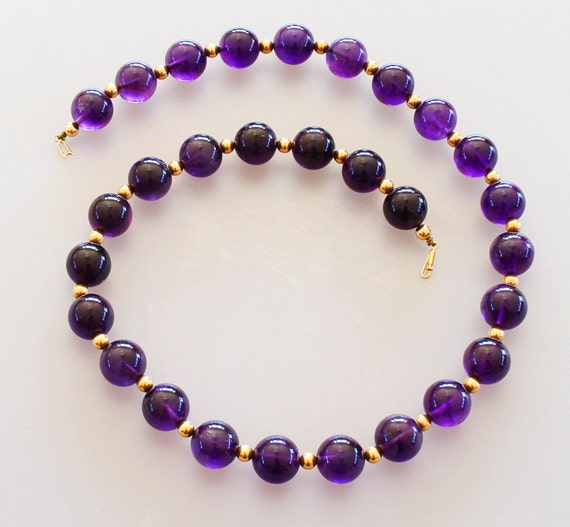 vintage 14k gold amethyst bead necklace jewelry large royal