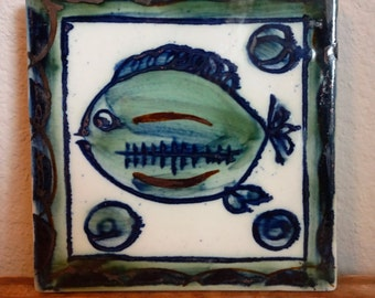 Vintage Handpainted Tile Fish Trivet