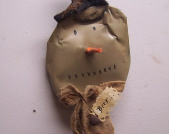 Hand painted recycle crushed soda pop can primitive snowman Christmas ornament
