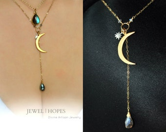 Crescent Moon and Star Necklace, Labradorite Drop Necklace, Mixed Metal Necklace, 14K Goldfilled and Silver, Charm Necklace, Layer, Chic