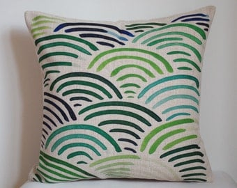 Waves pattern pillow, green and blue Waves pillow cover,Geometry pillow cover