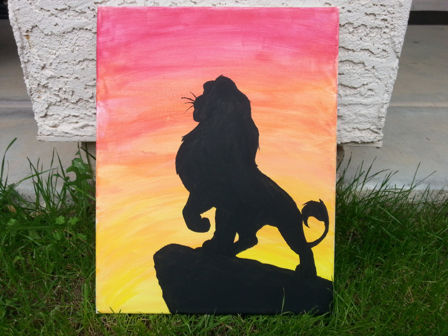 Amazing Lion King Pride Rock Silhouette Photo With Paintings Easy