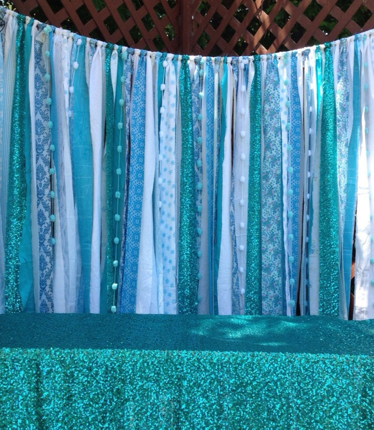 Blue Sequin Fabric Garland Ice Blue White Sparkle Backdrop