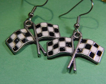 Tracey's Racing Jewelry double checkered flag earrings auto racing jewelry BEST PRICE!!!