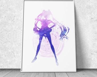 Sailor Moon Print, Usagi Tsukino, watercolor illustration, giclee art print, silhouette, anime, wall decor