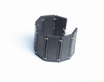 Handmade leather bracelet. Black leather bracelet. Rocker cuff. Real leather cuff.