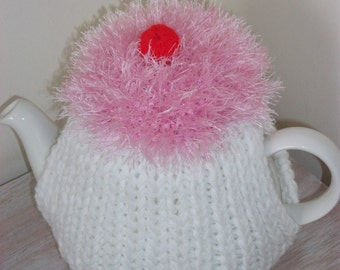 SALE Hand knitted white tea cosy, cupcake
