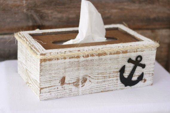 Tissue Box Cover Holder Anchor Nautical Rustic Shabby Chic