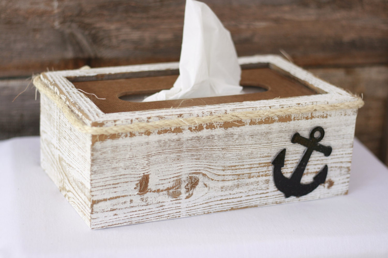 tissue box cover holder anchor nautical rustic shabby chic. Black Bedroom Furniture Sets. Home Design Ideas