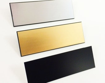 "20 Blank - Gold or Silver or Black - 1x3"" Name Badges Tags with Pin Fastener - FREE SHIPPING!"