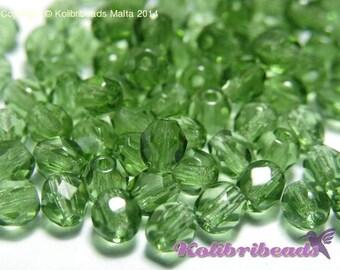 Fire polished Czech Glass Beads 4 mm - Turmaline