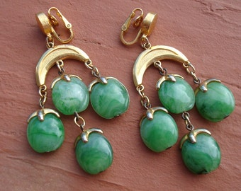 Vintage Trifari Waterfall Chandelier Faux Jade Lucite Drop Dangle Earrings Statement Boho Earrings