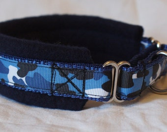 Fleece Lined Martingale Dog Collar -Blue Camo