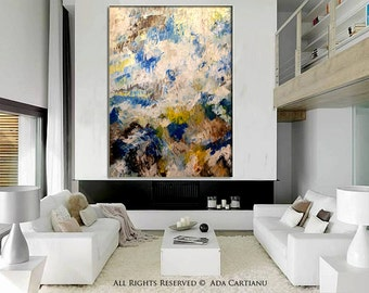 """Acrylic  Painting Abstract Acrylic Painting GALLERY ARTWORK - 36""""-, Original Acrylic Oil Painting on Canvas Contemporary Painting Wall Art"""