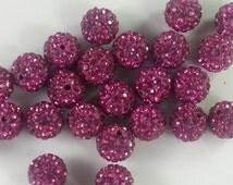 30  12mm  Fuschia  Color  Rhinestone Shamballa Beads Disco Balls Beads  Shamballa Jewelry  Shamballa Bracelet