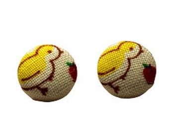 Baby chick vintage fabric stud earrings