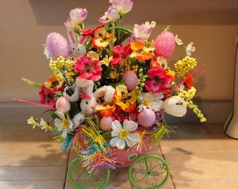 Huge Easter Girl Bunny Eggshell Pink Polka Dot Zig Zag Green Metal Cart, Pam's DeZines Floral With Spring Lavender Tulips.(Item 108)